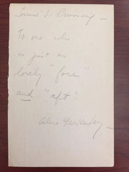 ALICE GERSTENBERG QUOTE SIGNED FEMINIST PLAYWRIGHT LITTLE THEATRE MOVEMENT CHICAGO