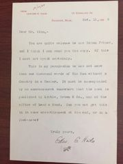 EDWARD E. HALE TYPED LETTER SIGNED MENTIONING THE MAN WITHOUT A COUNTRY