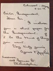 AGNES REPPLIER HANDWRITTEN LETTER SIGNED AM AUTHOR, ESSAYIST, PHILADELPHIA