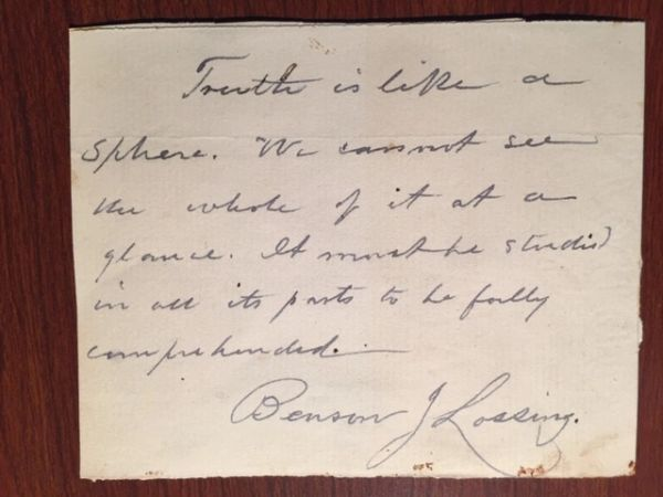 BENSON J. LOSSING HANDWRITTEN QUOTE SIGNED BY AM HISTORIAN, AUTHOR