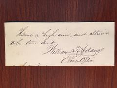 "WILLIAM T. ""OLIVER OPTIC"" ADAMS HANDWRITTEN QUOTE SIGNED AUTHOR BOY FICTION"