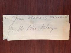 JAMES M. BUCKLEY SIGNED SLIP WITNESS REED SMOOT COMMITTEE MORMON POLYGAMY