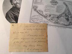 F. C. EWER HANDWRITTEN LETTER SIGNED DESIGNER OF 1869 NANTUCKET MAP, CLERGYMAN
