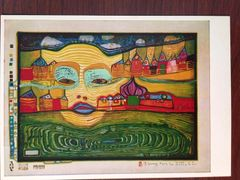 FRIEDENSREICH HUNDERTWASSER SIGNED OFFSET LITHOGRAPH OF HIS PAINTING, IRINALAND OVER THE BALKANS 1969
