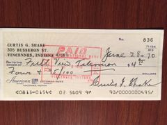 CURTIS G. SHAKE SIGNED CHECK JUDGE NUREMBERG TRIALS, HOLOCAUST