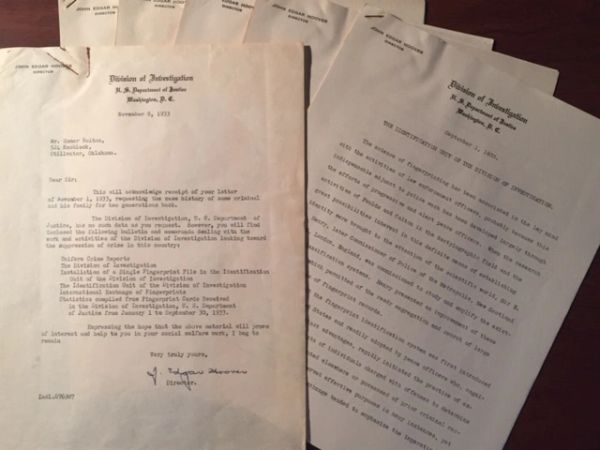 J. EDGAR HOOVER TYPED LETTER SIGNED & ARCHIVE OF FBI DIRECTOR