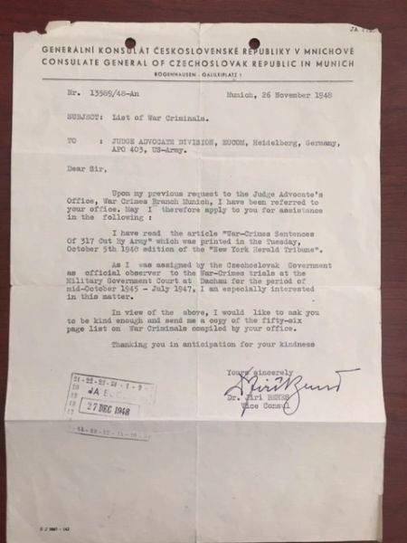 DACHAU CONCENTRATION CAMP WAR CRIMES TRIALS TYPED LTR SIGNED