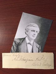 AARON L. CHAPIN SIGNED SLIP PRESBYTERIAN MINISTER, PRESIDENT BELOIT COLLEGE