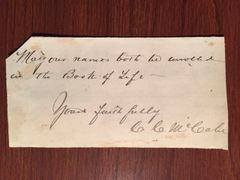 BISHOP CHARLES C. MCCABE SIGNED QUOTE - AM. UNIVERSITY CHANCELLOR 1899, BATTLE HYMN OF REPUBLIC, CIVIL WAR LIBBY PRISON