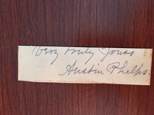 AUSTIN PHELPS C. 1880 SENTIMENT AND SIGNATURE, ANDOVER, THEORY OF PREACHING, THE STILL HOUR