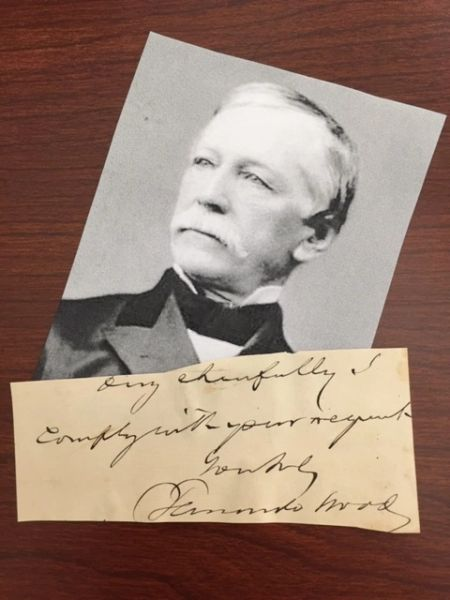 FERNANDO WOOD SIGNED SLIP TAMMANY HALL N. Y. MAYOR DURING POLICE RIOT & FIVE POINTS GANG WAR