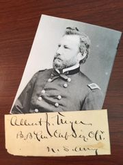GENERAL ALBERT J. MYER SIGNED CARD FOUNDER US WEATHER BUREAU & SIGNAL CORPS