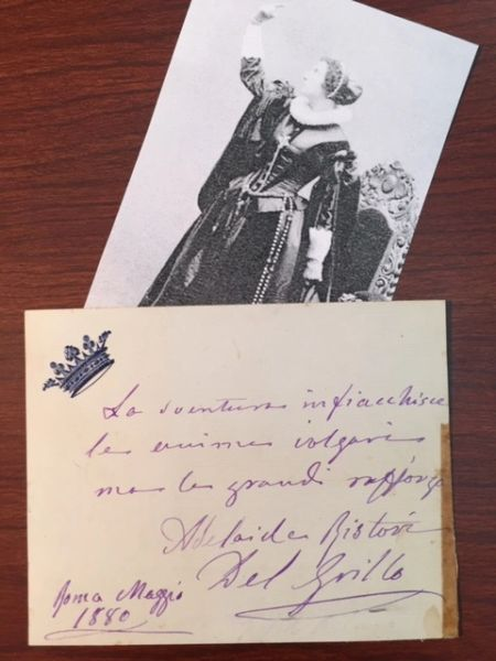 ADELAIDE RISTORI HANDWRITTEN NOTE SIGNED ITALIAN TRAGEDIENNE 1880