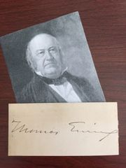 THOMAS EWING SIGNED CARD 1ST U.S. SEC. OF INTERIOR UNDER Z. TAYLOR, SEC. OF TREASURY PRES. HARRISON & TYLER, U.S. SENATOR OHIO