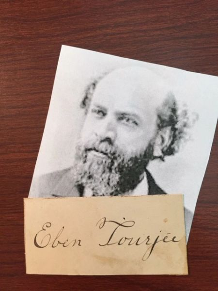 EBEN TOURJEE SIGNED CARD NEW ENGLAND CONSERVATORY OF MUSIC FOUNDER, ORGANIST