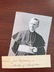 CARDINAL JOHN MCCLOSKEY SIGNED SLIP FIRST AMERICAN CARDINAL, PRES. ST. JOHN'S COLLEGE, PIUS IX