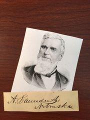 ALVIN SAUNDERS SIGNED SLIP GOV. NEBRASKA TERRITORY, U.S. SENATOR, UNION PACIFIC RR CO.