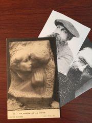 AUGUSTE RODIN HAND-SIGNED VINTAGE PHOTO POSTCARD LE POETE ET LA MUSE 1905