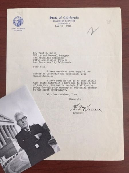 EARL WARREN LETTER SIGNED CHIEF JUSTICE U.S. SUPREME COURT, BROWN V. BOARD OF EDUCATION