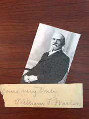 WILLAIM FAIRFIELD WARREN SIGNED SLIP PRESIDENT BOSTON SCHOOL OF THEOLOGY, RELIGIOUS AUTHOR