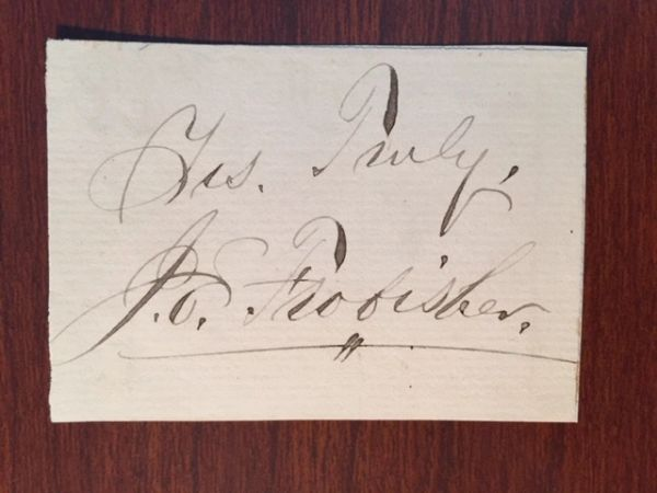 ACTING AND ORATORY J. E. FROBISHER SIGNED SLIP COLLEGE OF ORATORY & ACTING
