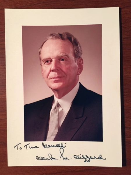 CLARK CLIFFORD SIGNED PHOTO U.S. SEC. OF DEFENSE, PRESIDENTIAL ADVISOR
