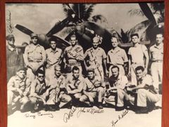 YAMAMOTO MISSION: RARE SIGNED PHOTO BY 8 AMER. ARMY AIRMEN, BARBER, MITCHELL, ET AL