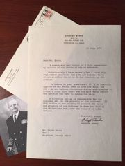 ARLEIGH BURKE TYPED LETTER SIGNED WWII NAVAL HERO ABOUT SS MAYAGUEZ
