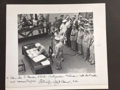CHESTER NIMITZ HISTORIC TWICE-SIGNED RARE SIZE PHOTO OF JAPANESE SURRENDER FOR TWO-TIME PULITZER PRIZE WINNING NAVAL ADMIRAL HISTORIAN