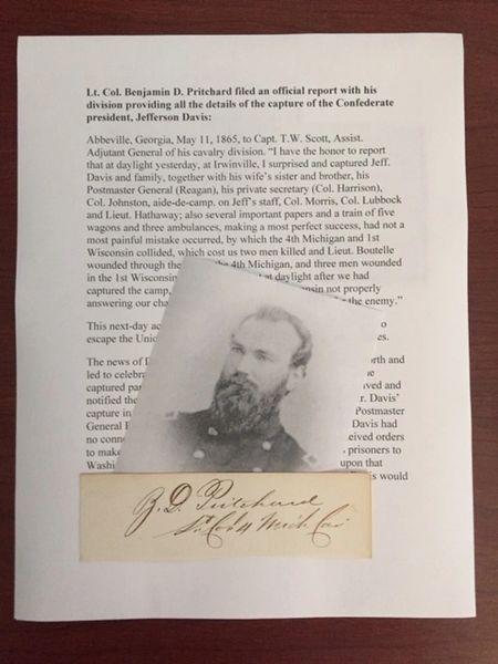 BENJAMIN D. PRITCHARD SIGNED SLIP CAPTURED FUGITIVE JEFFERSON DAVIS END CIVIL WAR