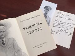 GENERAL ALBERT C. WEDEMEYER HANDWRITTEN NOTE SIGNED PLANNED NORMANDY INVASION, CHIANG KAI-SHEK, CHINA