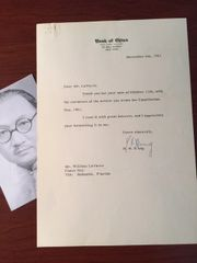 H.H. KUNG LETTER SIGNED PREMIER CHINESE NATIONALIST GOV. TO WM. LAVARRE