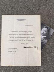 HOLLINGTON TONG LETTER SIGNED CHIANG KAI-SHEK'S TEACHER, DIPLOMAT, JOURNALIST