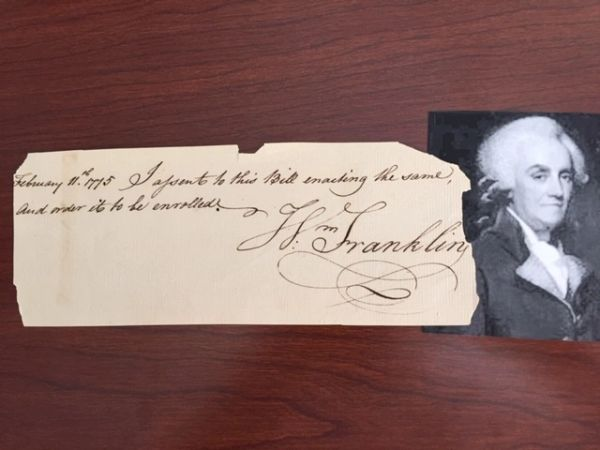 WILLIAM FRANKLIN HANDWRITTEN DOCUMENT SIGNED AS COLONIAL GOV OF NEW JERSEY