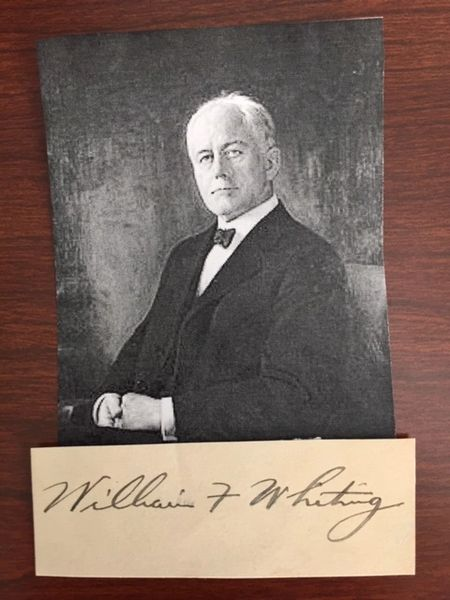 WILLIAM F. WHITING SIGNED CARD SEC. OF COMMERCE, WHITING PAPER CO., MENASHA, WI