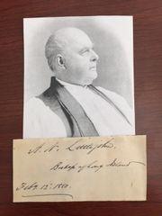 ABRAM NEWKIRK LITTLEJOHN SIGNED SLIP FIRST BISHOP EPISCOPAL DIOCESE OF LONG ISLAND