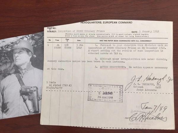 CLARENCE R HUEBNER SIGNED DOC, WWII NUREMBERG & DACHAU WAR CRIMES TRIALS