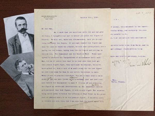 STANFORD WHITE AM. ARCHITECT SIGNED LTR. TO FREDERICK W. MACMONNIES AM. SCULPTOR