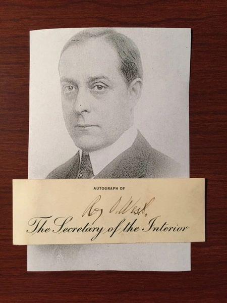 ROY O. WEST SIGNED PRINTED CARD AS SECRETARY OF INTERIOR, CHICAGO, DEPAUW UNIV.