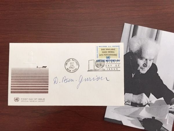 DAVID BEN-GURION SIGNED COVER, ISRAEL FOUNDER & FIRST PRIME MINISTER, SIX-DAY WAR