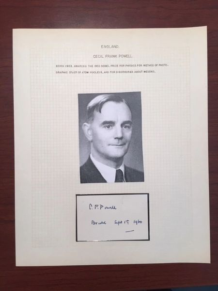 CECIL FRANK POWELL SIGNED ENSEMBLE, 1950 NOBEL PRIZE PHYSICS