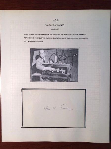CHARLES H. TOWNES SIGNED ENSEMBLE, 1964 NOBEL PRIZE, MASER & LASERS