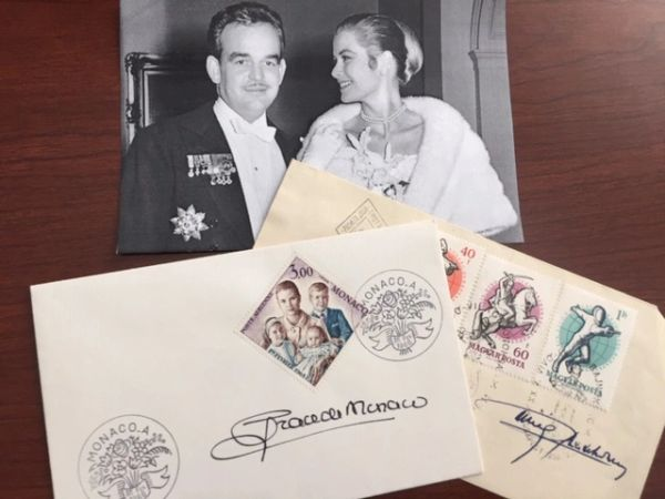 GRACE KELLY AND PRINCE RAINIER III SIGNED POSTAL COVERS