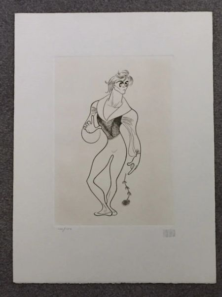 AL HIRSCHFELD HAND-SIGNED ETCHING, MIKHAIL BARYSHNIKOV IN GISELLE