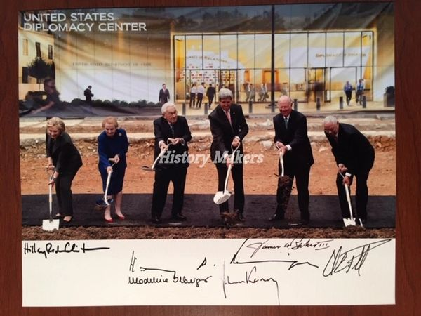 6 U.S. SECRETARIES OF STATE SIGNED PHOTO: CLINTON, KISSINGER, KERRY, BAKER, POWELL, ALBRIGHT