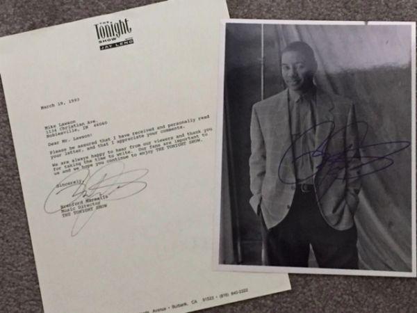 BRANFORD MARSALIS TONIGHT SHOW TYPED LTR. SIGNED & SIGNED PHOTO