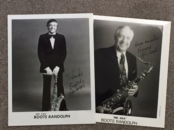BOOTS RANDOLPH TWO SIGNED PHOTOS, MR. SAX, YAKETY SAX