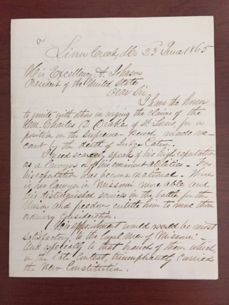 ANDREW JOHNSON MISSOURI GOVERNOR LETTER SIGNED, JOSEPH WASHINGTON MCCLURG, JUDGE
