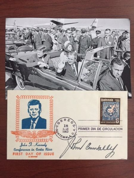 JOHN CONNALLY SIGNED FIRST DAY COVER, WOUNDED JFK'S ASSASSINATION