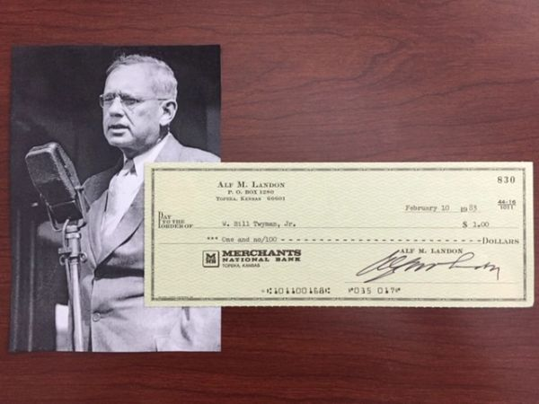 ALF M. LANDON SIGNED PERSONAL CHECK, RAN FOR PRESIDENT AGAINST FDR